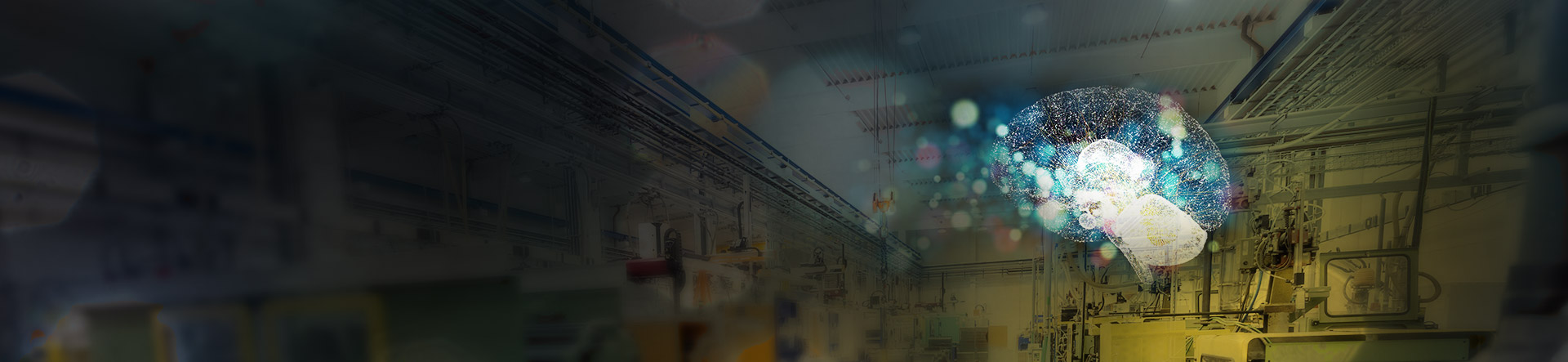 Deep Learning bokeh brain over Industrial warehouse ceiling
