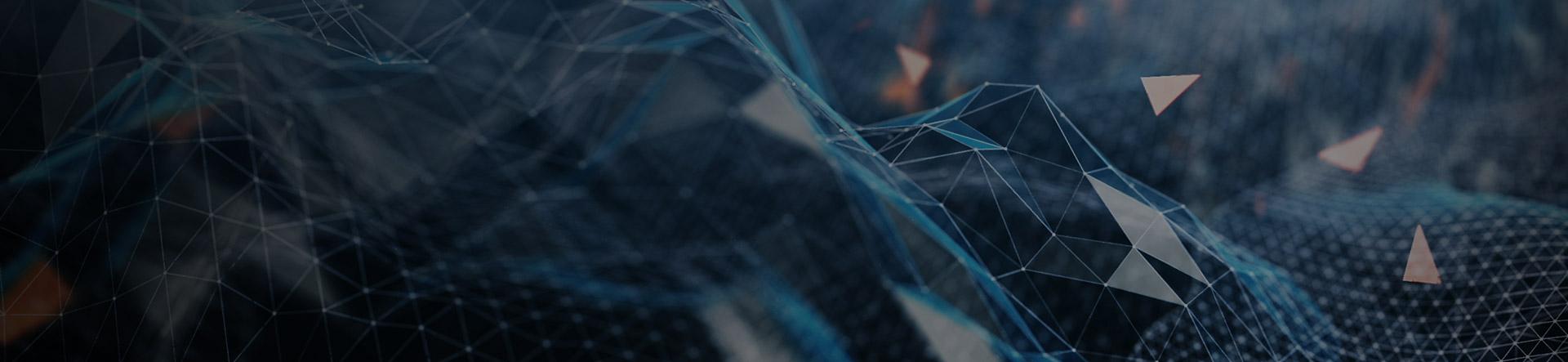 blue geometric data cloud hills banner