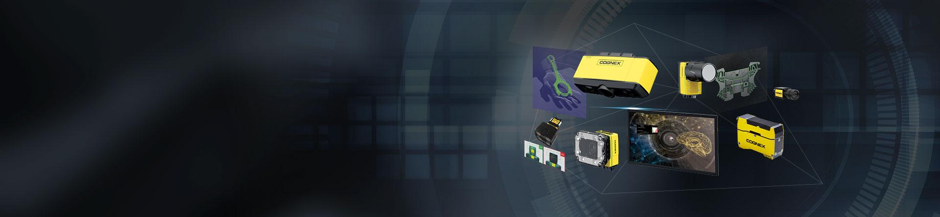 Machine Vision Gateway banner of Cognex products on dark background