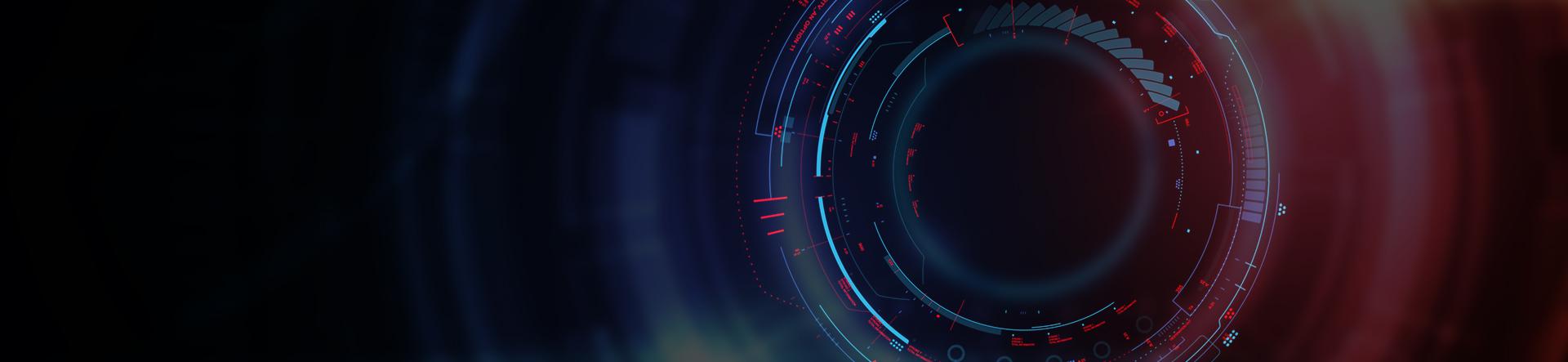 digital technology lens on blue red background