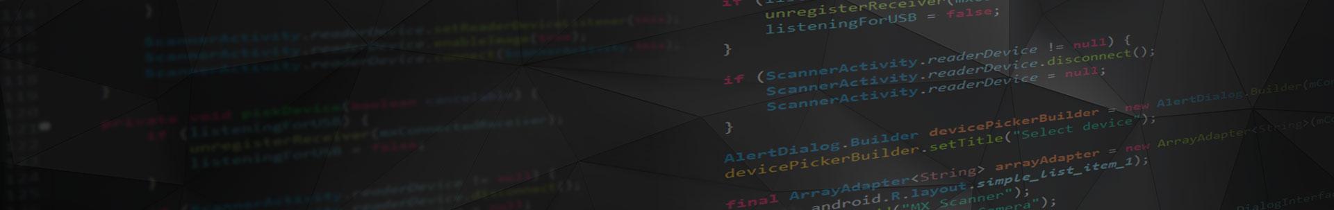 code software for development kit on black banner
