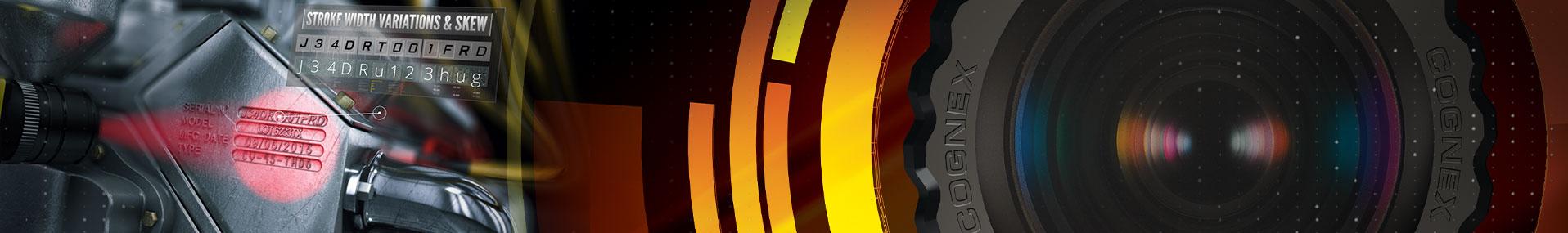 red light OCR reading cast code next to machine vision cognex lens