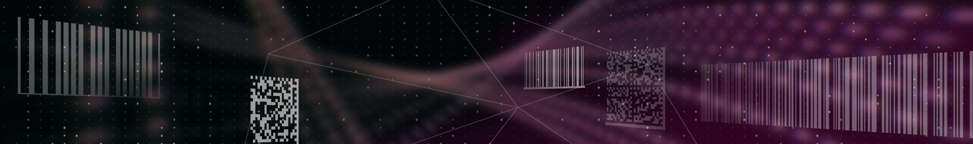 multiple barcode symbologies floating over purple background