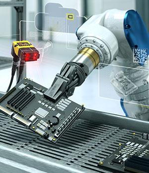 Factory automation cognex machine vision and robot arm