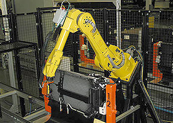 Cognex Insight on Robotic Arm Inspecting Automotive Cooling Module