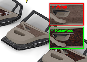 Cognex deep learning identifies and classifies the correct decoration panel for an assembled car door or interior
