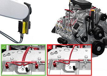 Bloco do motor sendo inspecionado por um sistema de visão