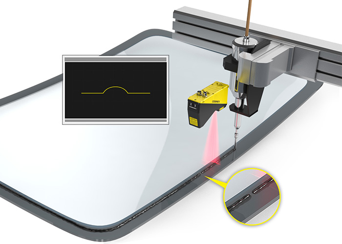 Cognex 3D Laser Profiler automotive sun roof glue bead inspection