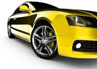 side of shiny yellow sports car