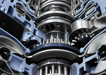 powertrain system up close with gears