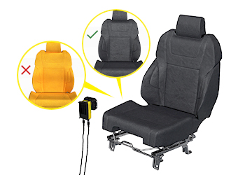 O In-Sight D900 inspeciona assentos automotivos detectando se a cobertura do assento foi ou não instalada.