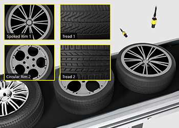 In-Sight D900 identifies and classifies electric vehicle tires based on tread patterns