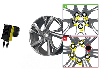 Vision system inspecting automotive wheel studs