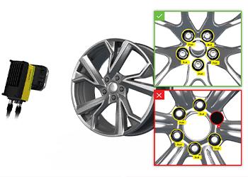 Sistema de visão inspecionando os pinos das rodas automotivas