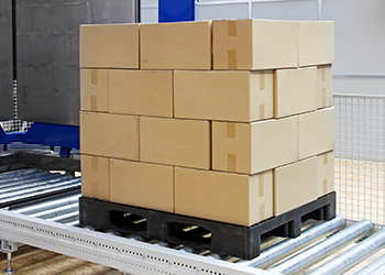 Distribution Center pallet of stacked boxes