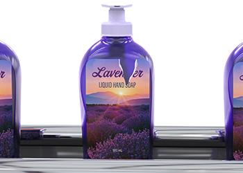 Ripped label on lavender soap bottle
