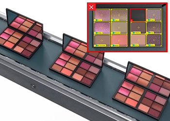 Makeup kits being inspected for defects