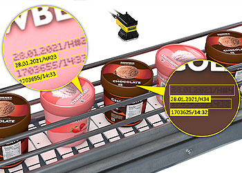 Vision system reading OCR codes on lids of ice cream containers