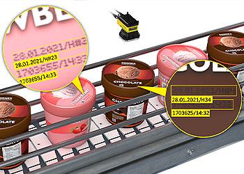 Sistema de visão lendo códigos OCR em tampas de recipientes de sorvete