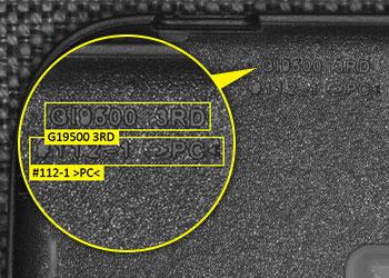 OCR-Codelese-Ergebnis auf einem Mobiltelefongehäuse