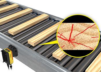 Tavole di legno in fase di ispezione su un nastro trasportatore a rulli