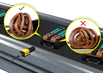 Vision system inspecting braided wire on an electrical component