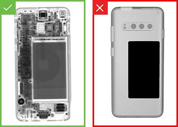 Ergebnisse einer Pass/Fail-Prüfung eines montierten Mobiltelefons