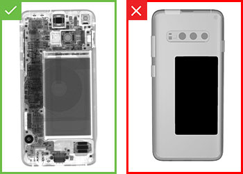 Resultados de inspección satisfactorios o insatisfactorios en  teléfono móvil ensamblado
