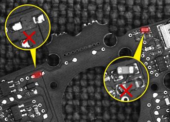 Défauts détectés sur une carte de circuit imprimé