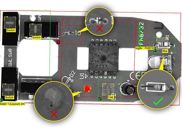Prüfung der Leiterplatten von Computermäusen - weitere Beispiele