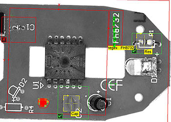 Machine vision inspection of a mouse PCB
