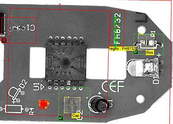 Inspeção de visão industrial de uma PCB de mouse