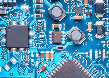 Blue PCB up close Assembly Inspection