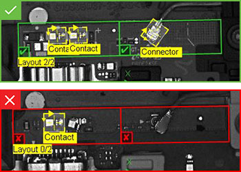 Pass and fail inspection results on a PCB connector