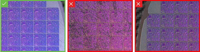O In-Sight D900 usa o deep learning para inspecionar wafers de semicondutor quanto a defeitos e outras anomalias cosméticas indesejadas.