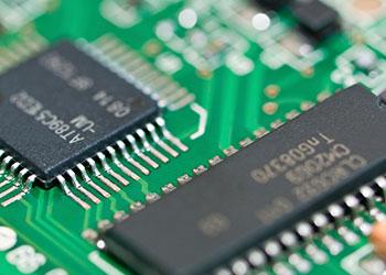 Microchips on circuit board
