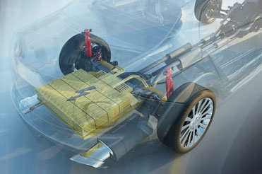 Rendered image of EV Battery in clear car
