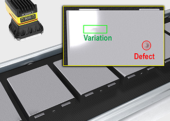 An In-Sight D900 finds defects on an EV battery cell surface during inline inspection