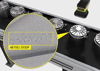 The In-Sight D900 reads etched codes on metal