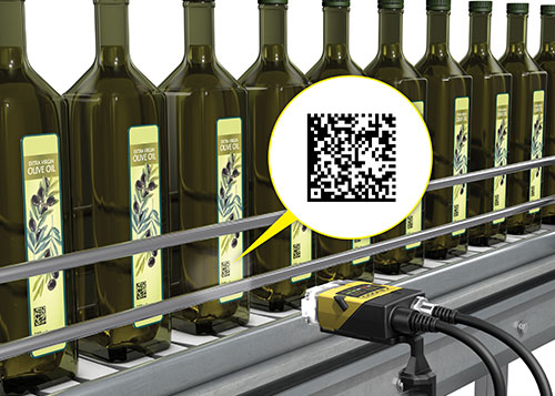 Cognex dataman reading olive oil bottles qr codes for anti-counterfeiting and authentication