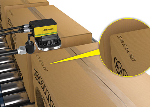 Mounted Cognex Insight 7000 series reading box batch numbers for traceability