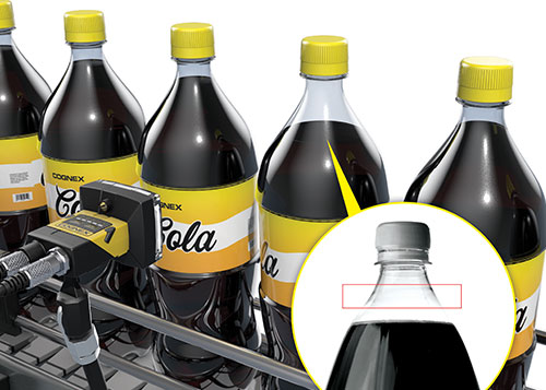 Cognex Insight 2000 series inspecting beverage fill level pass fail
