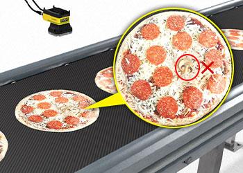 Sistema de visão inspecionando uma pizza em busca de defeitos