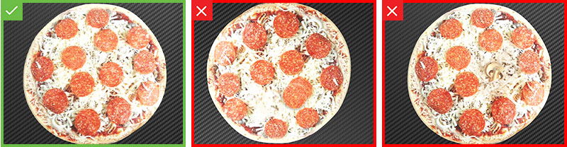 Pass and fail inspection results on pepperoni pizza