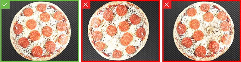Resultados satisfactorios o insatisfactorios de una inspección de pizza de pepperoni