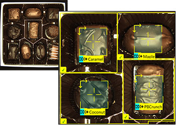 Cognex In-Sight ViDi chocolate assembly verification with ViDi Blue-Locate tool