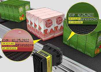 In-Sight D900은 다양한 식음료 포장물에서 판독하기 까다로운 코드를 판독합니다.
