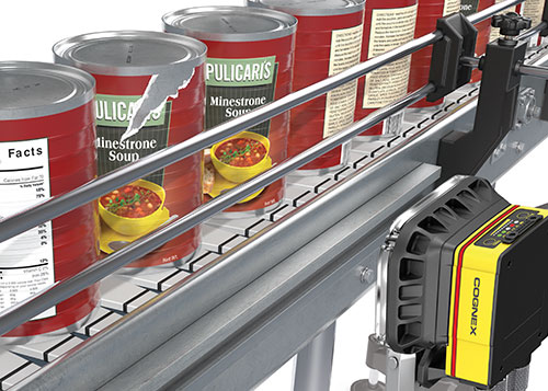 Cognex insight 7000 can label ripped quality inspection on conveyor belt