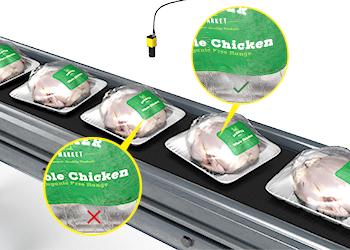 OCR-Tools mit Deep Learning lesen schwierigen Text auf in Plastikfolie verpackten Hühnern.