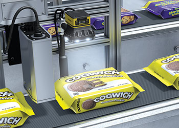 Inspection of cookie packages on conveyor